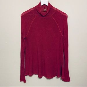 Free People | Cranberry Cowl Neck Long Sleeve Top